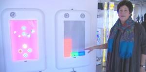 School principal Sandra Mann shows off the multi-sensory room. (Evelyne Asselin/CBC)